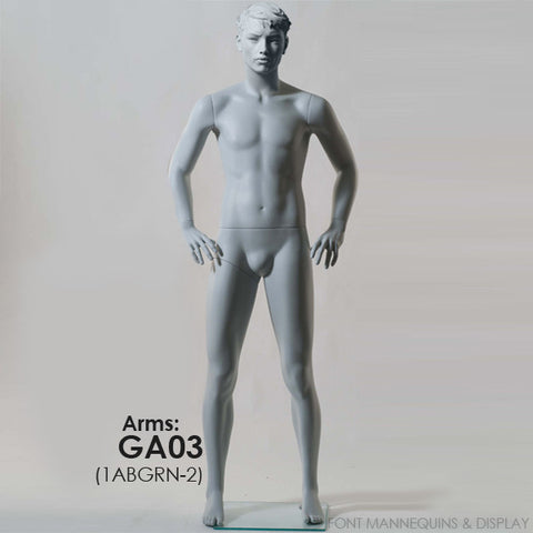 European Made Male Sculpted Mannequin Ga03, Arm Ga04, Head 1, Ral9001, Glass Square Base
