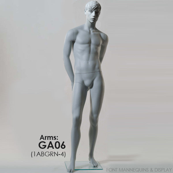 European Made Male Sculpted Mannequin Ga06, Arm Ga08, Head 2, Ral9001, Glass Square Base