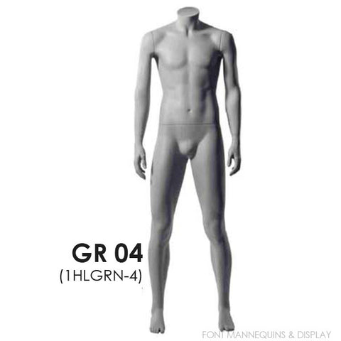 RENT European Made Headless Male Mannequin GR04, Ral9001, Glass Square Base