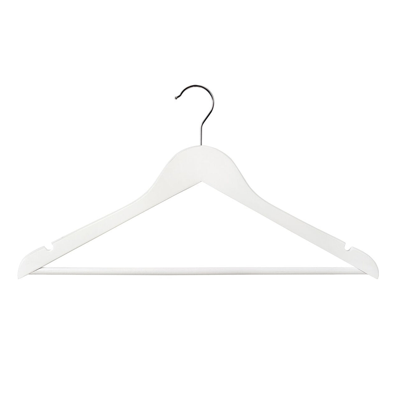 Wooden hanger slimline flat with notches & rail 440Wx10mm Thick (Box of100) H2640WH-100