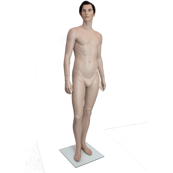 RENT Male Mannequin w Hair and Makeup M1, Metal Square Base RENTBR3708SC