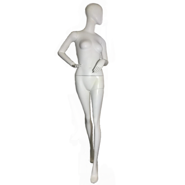 RENT Female Egghead Mannequin W18, Metal Square Base RENTBR3713WH
