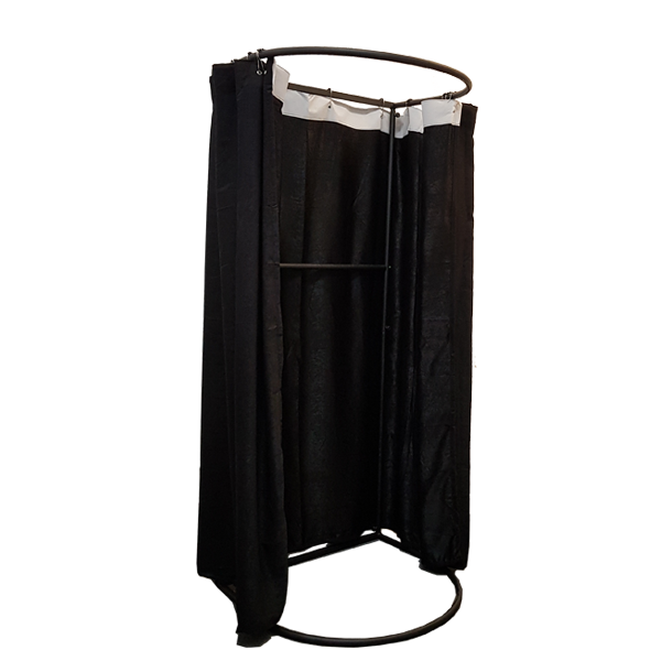 RENT Mobile Fitting Room with Black Frame and Black Curtain 850 W X 2000 H X 800Mm D