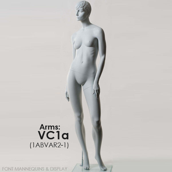 European Made Female Sculpted Mannequin VC1A, Arm VC2A, Head V1, RAL9001, Glass Square Base 1ABVAR2-1