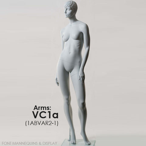 European Made Female Sculpted Mannequin VC1A, Arm VC2A, Head V1, RAL9001, Glass Square Base