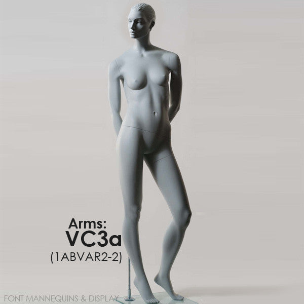 RENT European Made Female Sculpted Mannequin VC3A or VC5A, Head V2, Ral9001, Glass Square Base