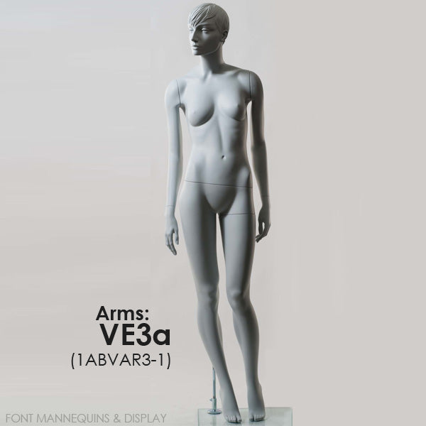 RENT European Made Female Sculpted Mannequin VE1A or VE3A, Head V1, Ral9001, Glass Square Base