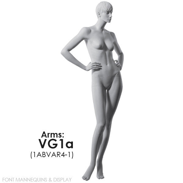 RENT European Made Female Sculpted Mannequin VG1A, Head V1, Ral9001, Glass Square Base RENT1ABVAR4-1