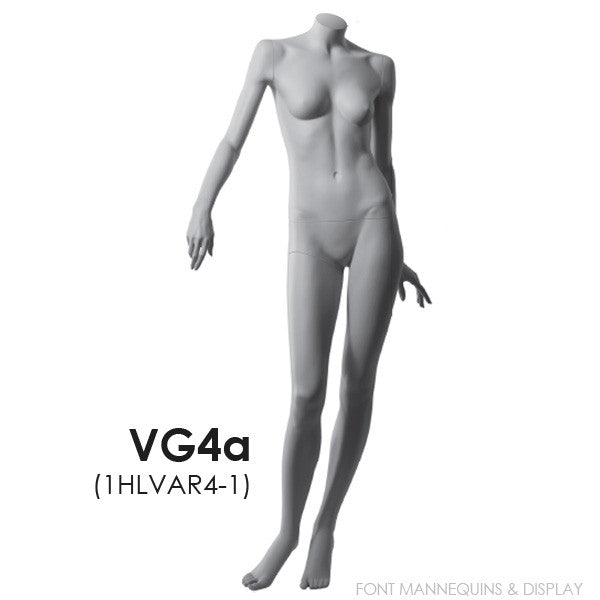 RENT European Made Headless Female Mannequin VG4A, Ral9001, Glass Square Base RENT1HLVAR4-1