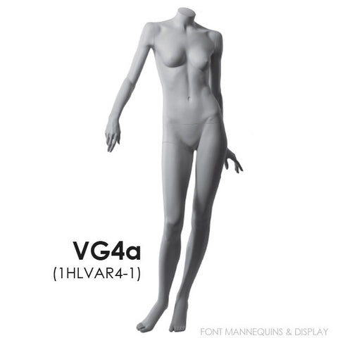 RENT European Made Headless Female Mannequin VG4A, Ral9001, Glass Square Base
