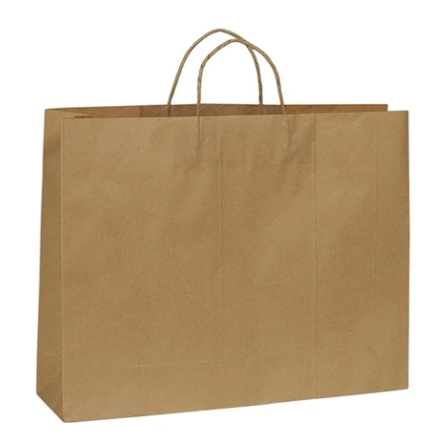 Brown Kraft paper bag boutique large with handle 450 W x 350 H x 120 mm G (Pack of 20) A8024BN-20