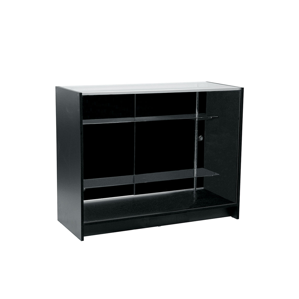 Counter showcase 1200 w timber laminate glass top & 2 shelves  1200 W x 965 H x 508  mm D F5000BK