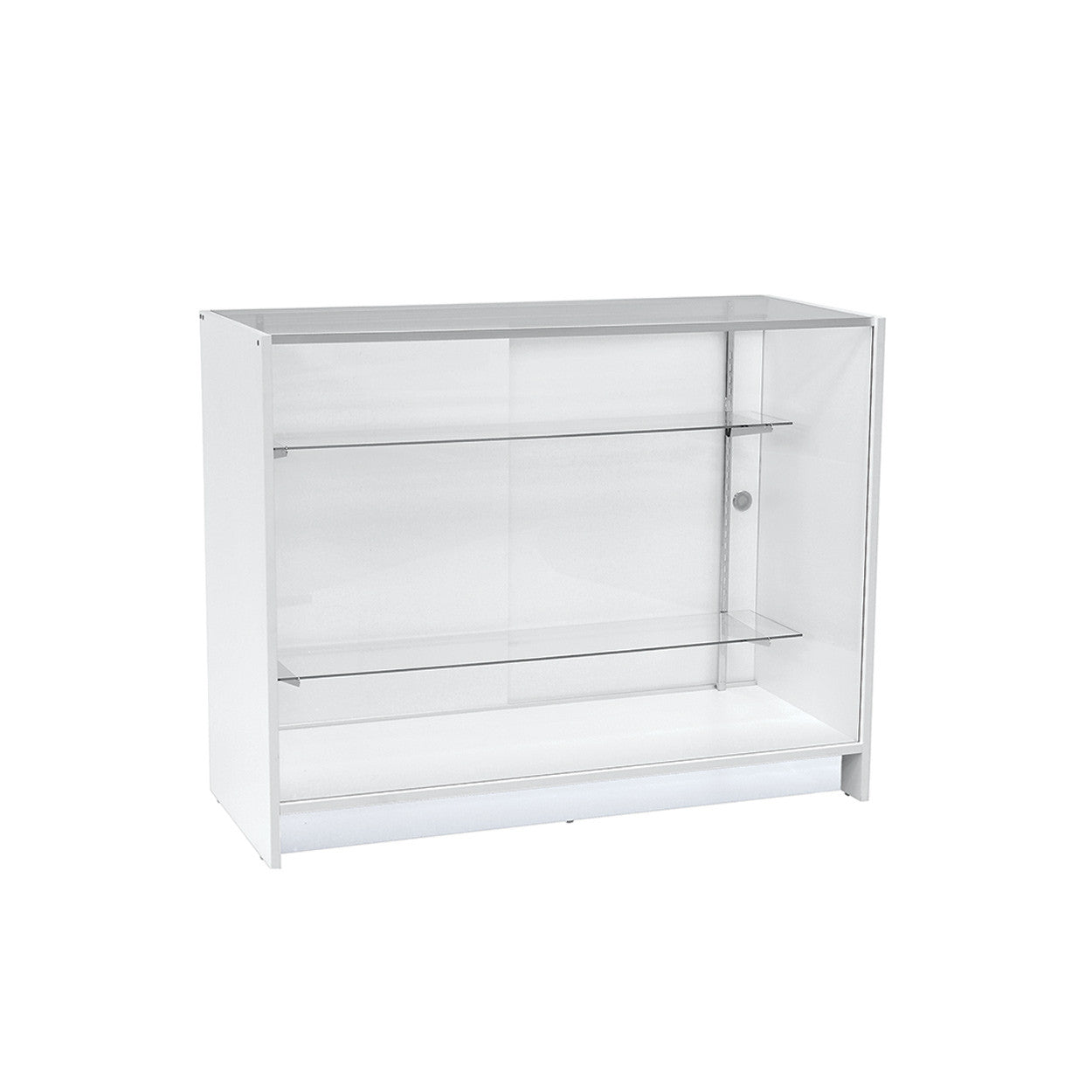 Counter showcase 1200 w timber laminate glass top & 2 shelves  1200 W x 965 H x 508  mm D F5000WH