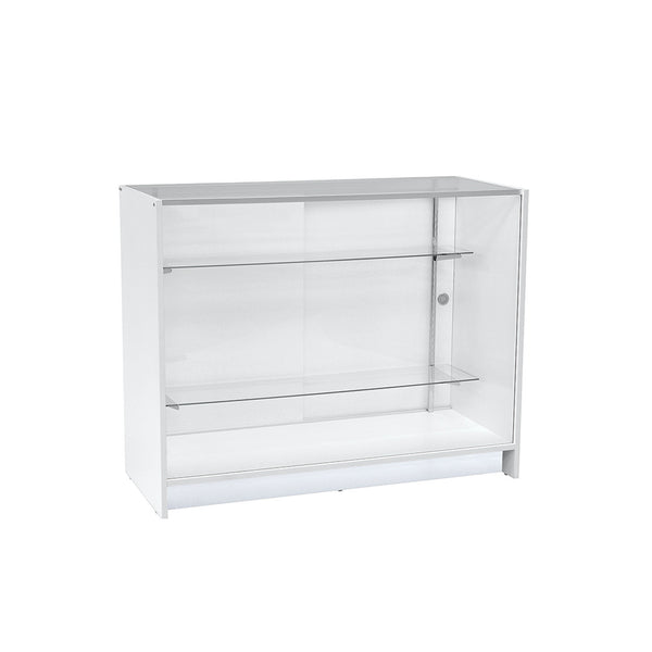 RENT White Glass Showcase With 2 Shelves 1200 X 500 X 940Mm High