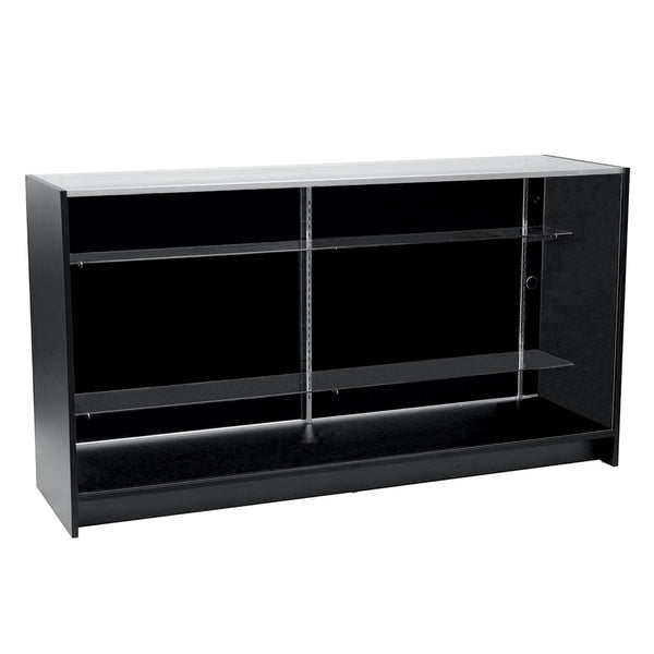 Counter showcase 1800 w timber laminate glass top & 2 shelves  1800 W x 965 H x 508  mm D F5100BK