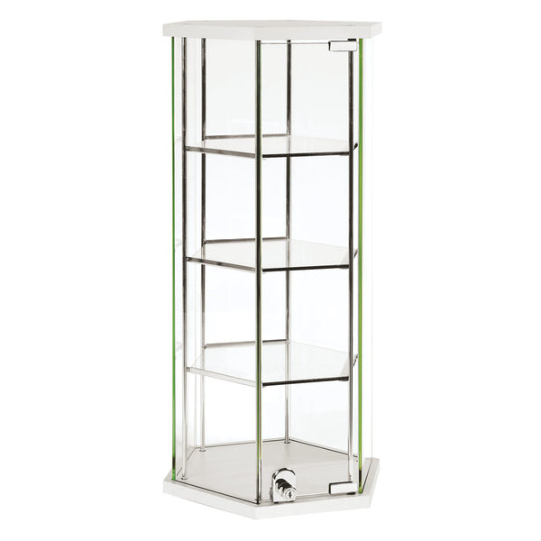 Hex glass counter top showcase with 3 shelves & lockable door  350 DIA x 700 mm H F7000WH