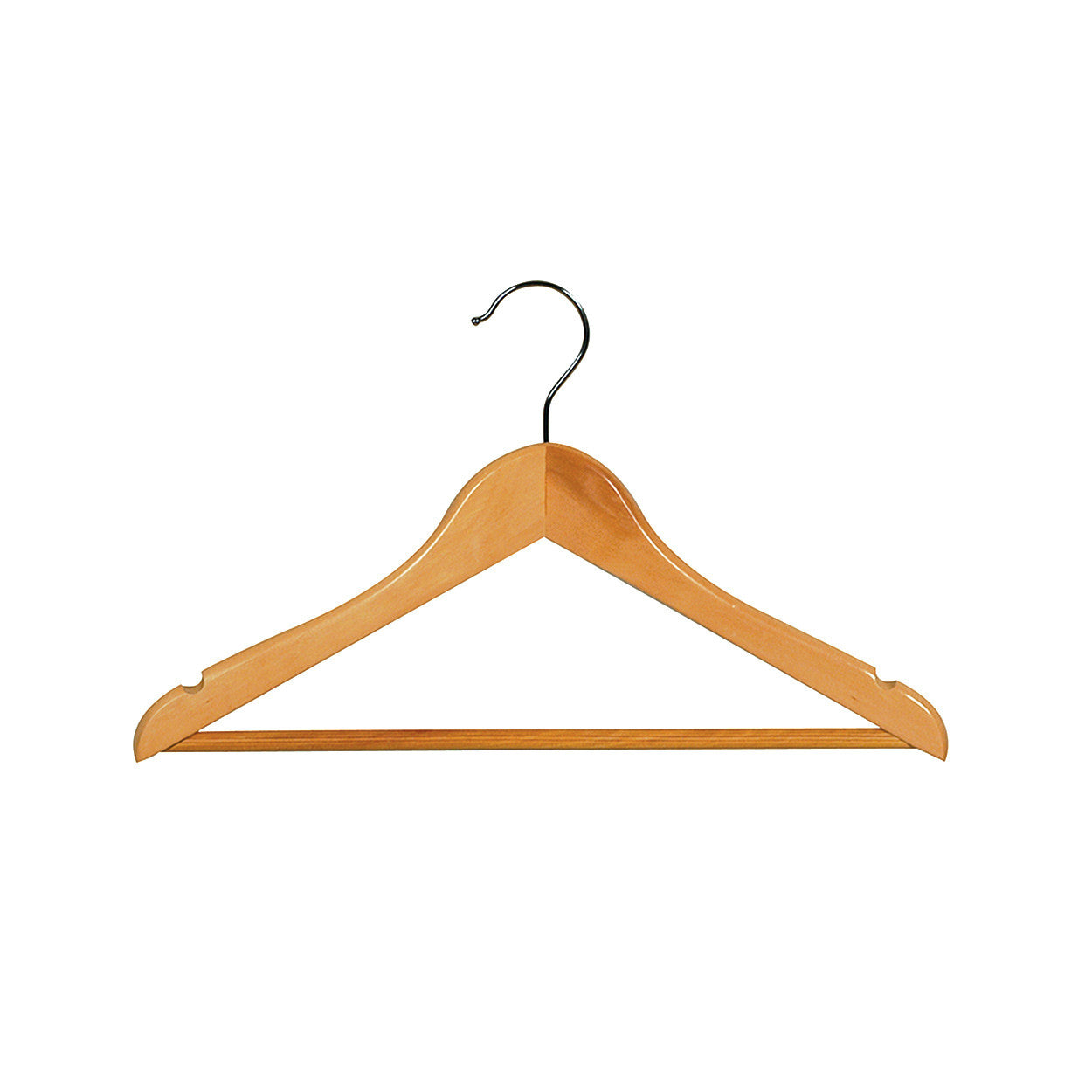 Beech Kids wooden hanger with notches & rail 350 W x 12 mm Thick (Bundle of 10) H2604BH-10