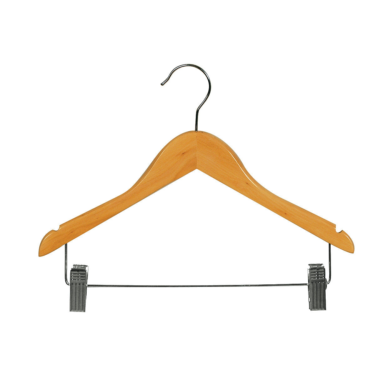 Beech Kids wooden hanger with notches & adjustable clips 350 W x 12mm Thick (Box of 100) H2605BH-100