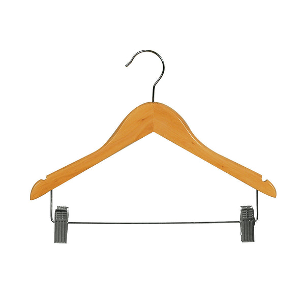 Beech Child Top Timber Hanger With Notches, Dropdown Rail & Clips 350 W X 12Mm Thick (Bundle of 50)