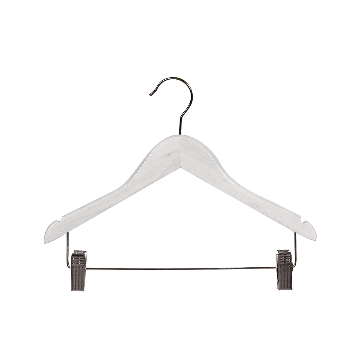 White Kids wooden hanger with notches & adjustable clips 350Wx12 mm Thick (Bundle of 50) H2605WH-50