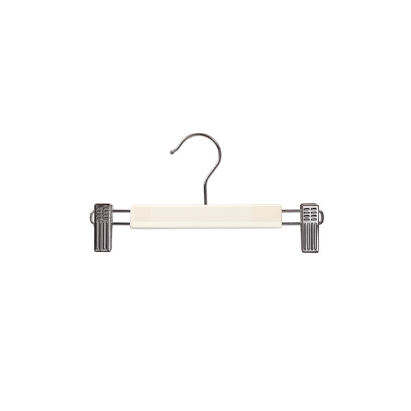 White Baby Clip Timber Hanger With Chrome Clips At Ends 230 W X 12Mm Thick (Bundle of 50)