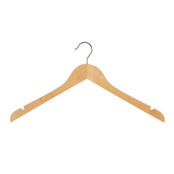 Beech Wooden hanger wishbone with notches 440 W x 14 mm Thick (Box of 100) H2628BH-100