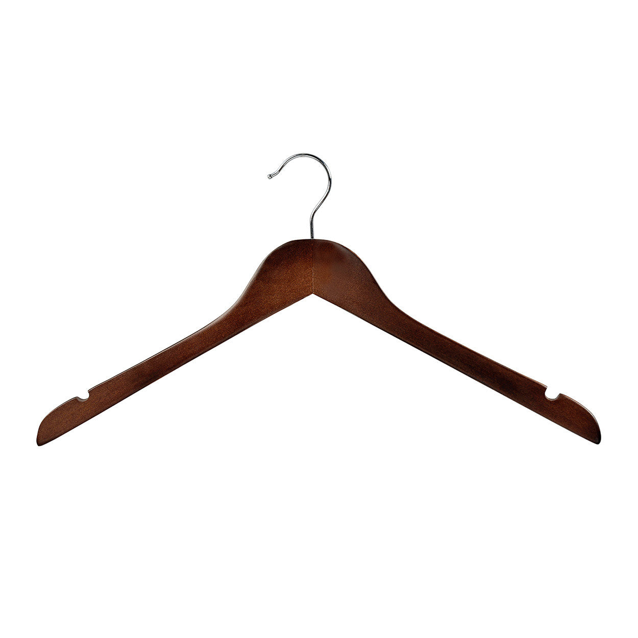 Wenge Wooden hanger wishbone with notches 440W x 14mm Thick (Bundle of 10) H2628WE-10