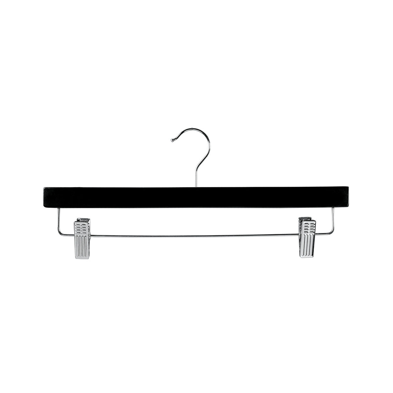 Black Wooden hanger with adjustable clips 380 W x 12 mm Thick (Bundle of 50) H2629BK-50