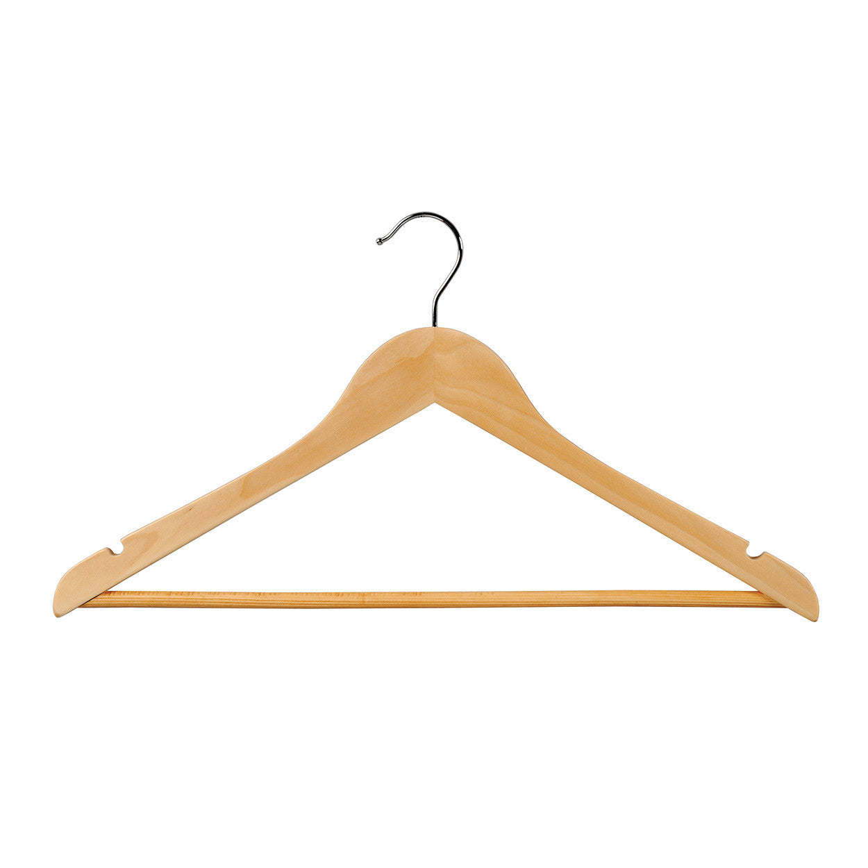 Beech Wooden hanger with notches & rail 440 W x 14 mm Thick (Box of 100) H2630BH-100