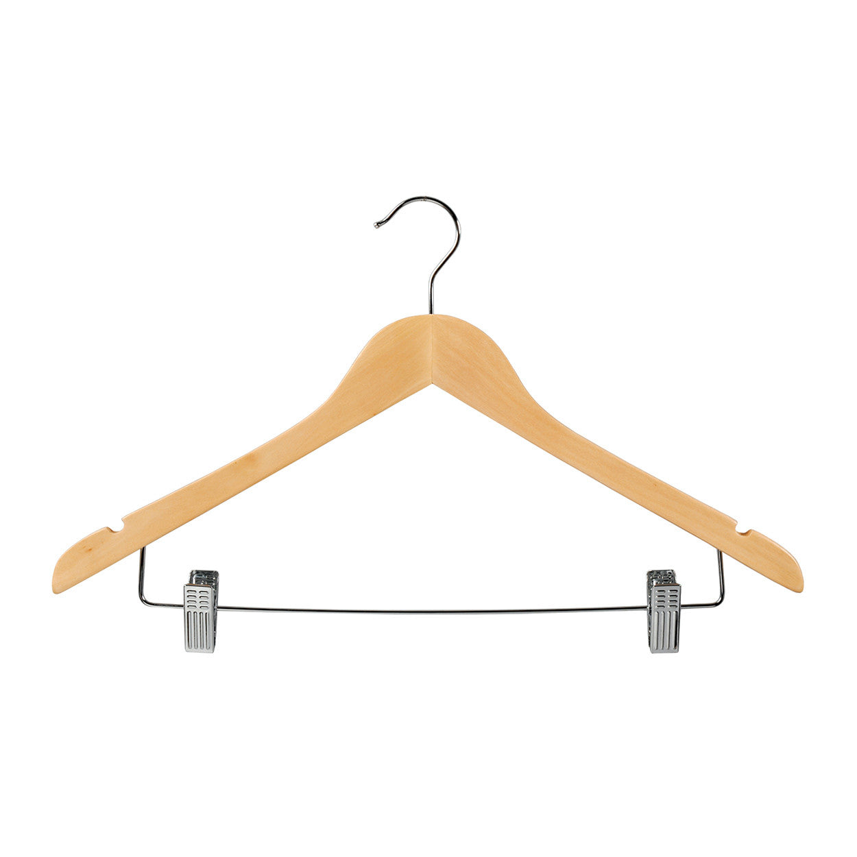 Beech Wooden hanger with notches & adjustable clips 440 W x 14 mm Thick (Box of 100) H2631BH-100