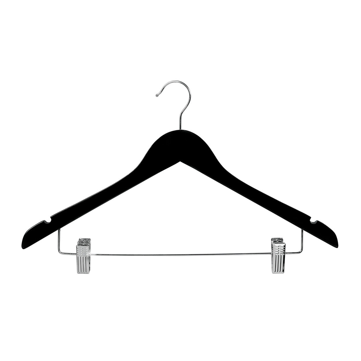 Black Wooden hanger with notches & adjustable clips 440 W x 14 mm Thick (Box of 100) H2631BK-100