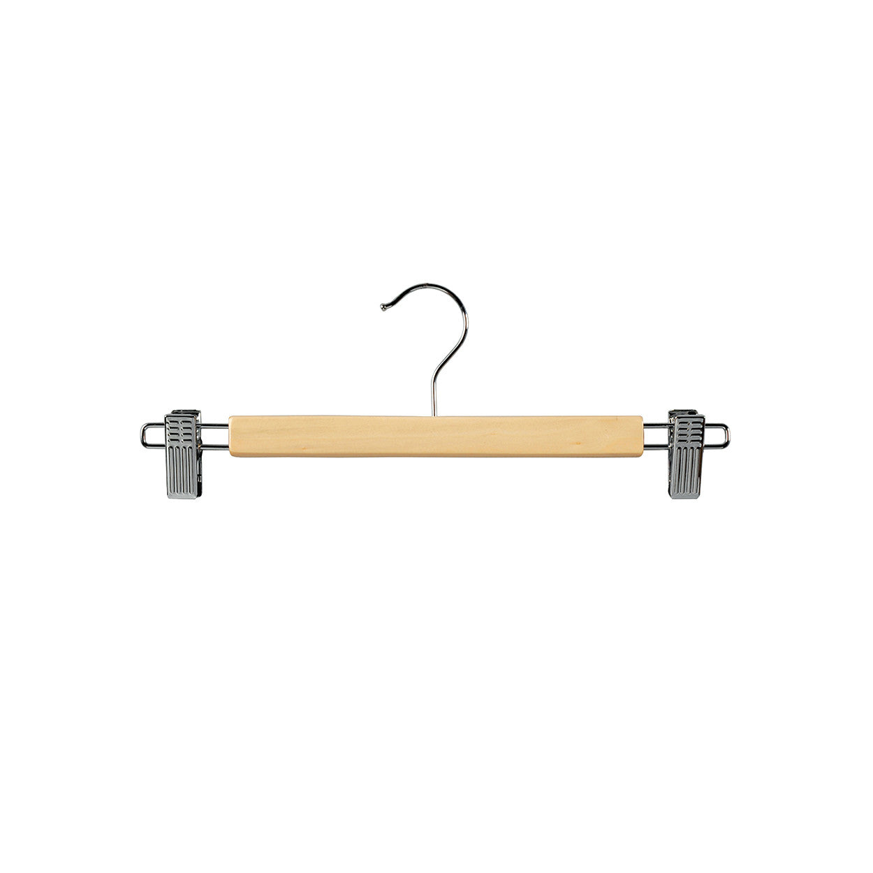 Beech Wooden hanger with clips at ends  330 W x 12 mm Thick (Bundle of 10) H2634BH-10