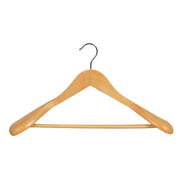 Beech Suit Timber Hanger Large With Formed Shoulder & Rail 450 W X 14Mm Thick (Bundle of 10)