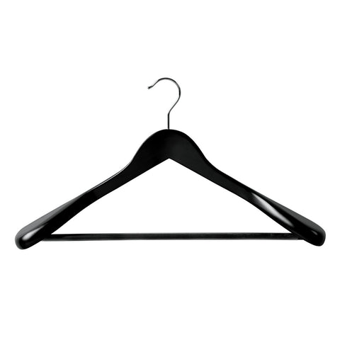 Black Suit Timber Hanger Large With Formed Shoulder & Rail 450 W X 14Mm Thick (Box of 20)