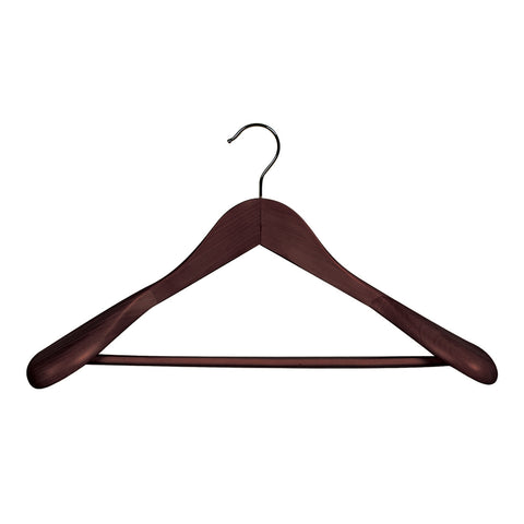 Wenge Suit Timber Hanger Large With Formed Shoulder & Rail 450 W X 14Mm Thick (Bundle of 10)