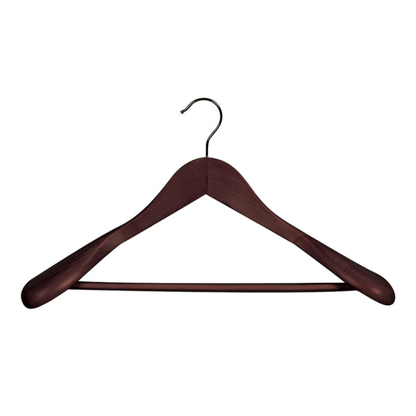 Wenge Suit Timber Hanger Large With Formed Shoulder & Rail 450 W X 14Mm Thick (Box of 20)