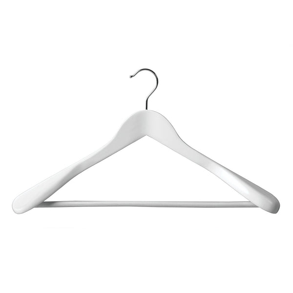 White Suit Timber Hanger Large With Formed Shoulder & Rail 450 W X 14Mm Thick (Box of 20)