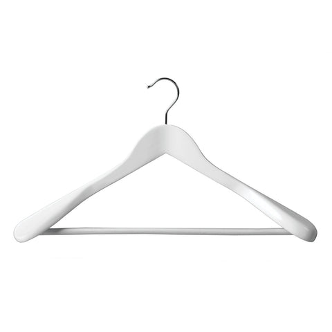 White Suit Timber Hanger Large With Formed Shoulder & Rail 450 W X 14Mm Thick (Bundle of 5)