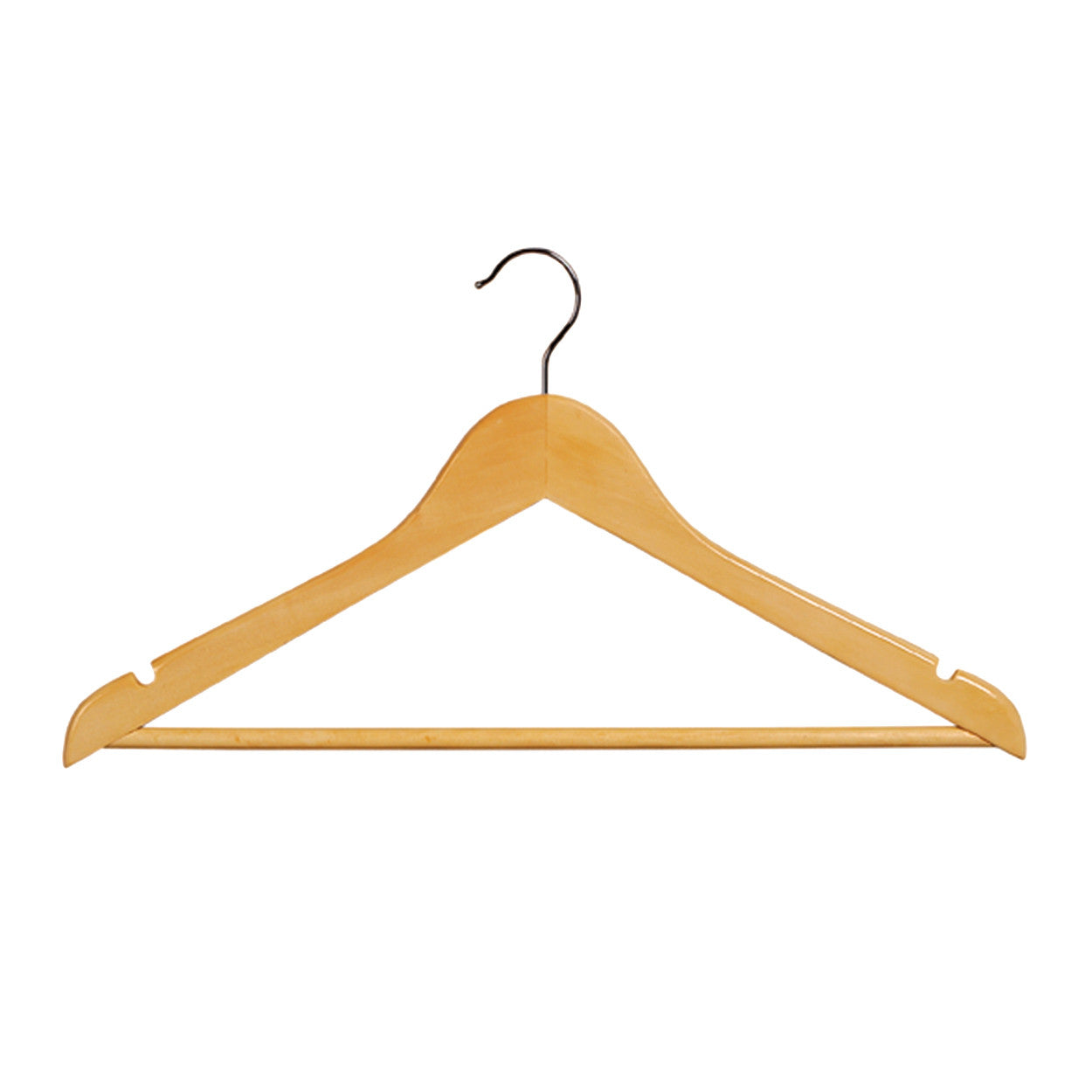 Beech Wooden hanger slimline flat with notches & rail 440 W x 10 mm Thick (Box of 100) H2640BH-100