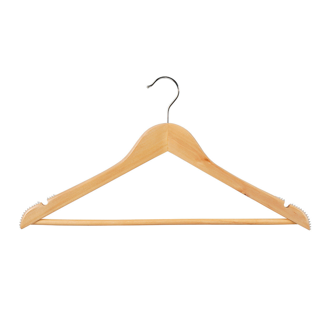 Beech Wooden hanger with notches, ribs & rail 440 W x 14 mm Thick (Bundle of 10) H2650BH-10