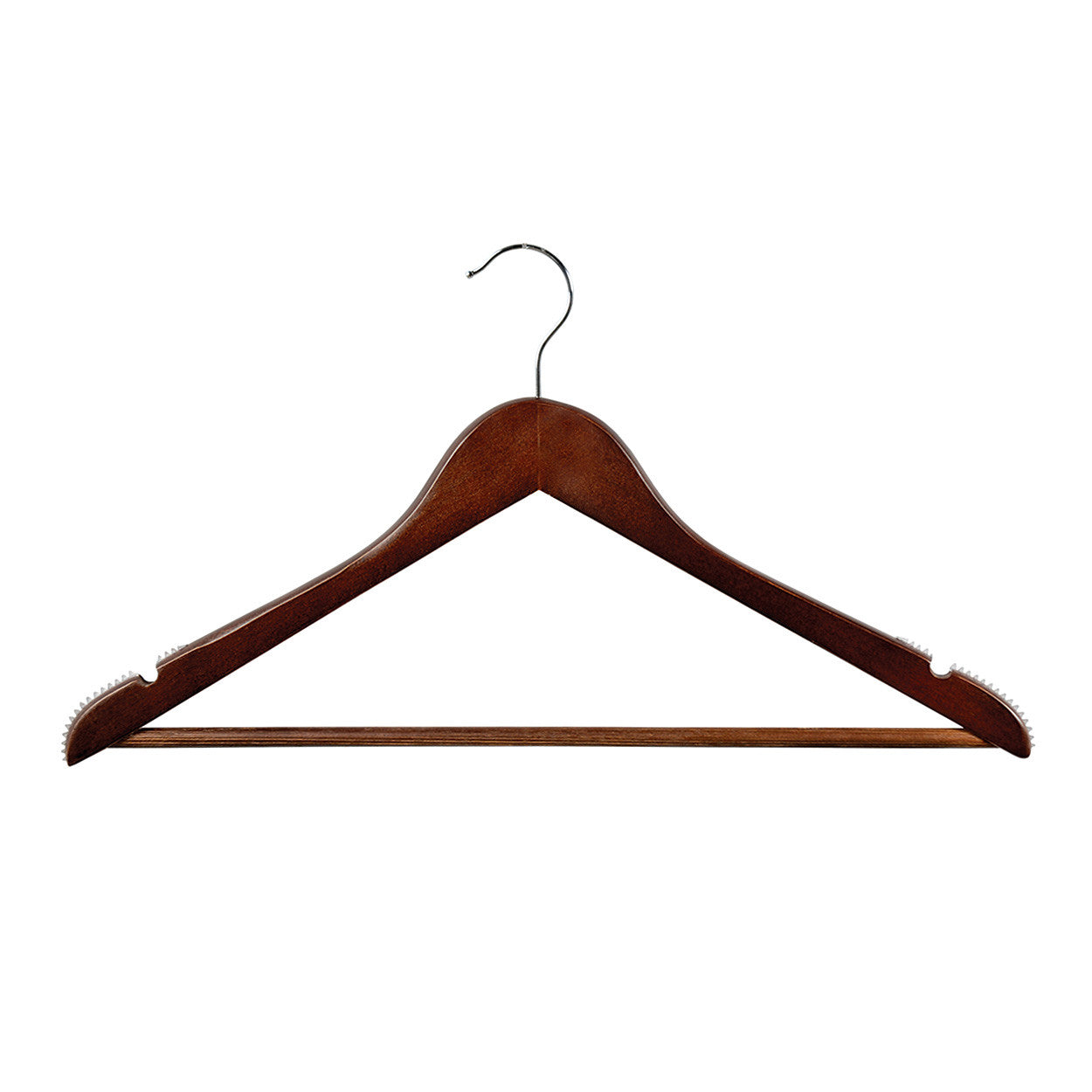 Wenge Wooden hanger with notches, ribs & rail 440Wx14mm Thick (Bundle of 50) H2650WE-50