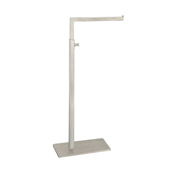 Standard Handbag Display Stand Single Sided 140 X 90 Base,410-720Mm Adj H Satin Chrome