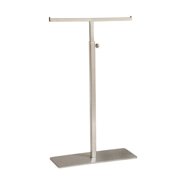 Standard Handbag Display Stand Double Sided 220 X 90 Base,410-720Mm Adj H Satin Chrome