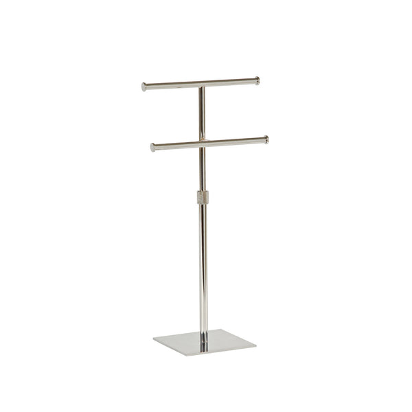 Two Tier Hanging Jewellery Display With Adjustable Height 150mm sq base 300-570mm Adj H Chrome
