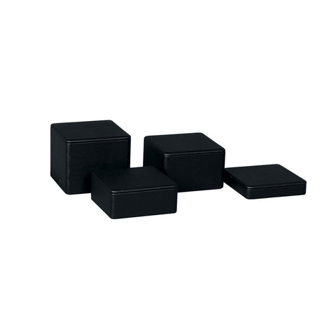 RENT Black Leatherette Square Riser Set Of 4 Heights 120Mm Sq 105, 80, 50, 30Mm H