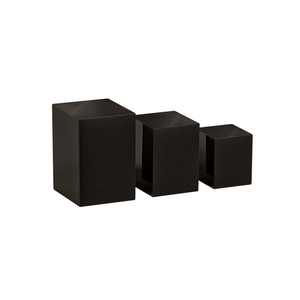 Acrylic Jewellery Plinth Set With 3 Nesting Pieces 100 H, 80 H , 60Mm H Black