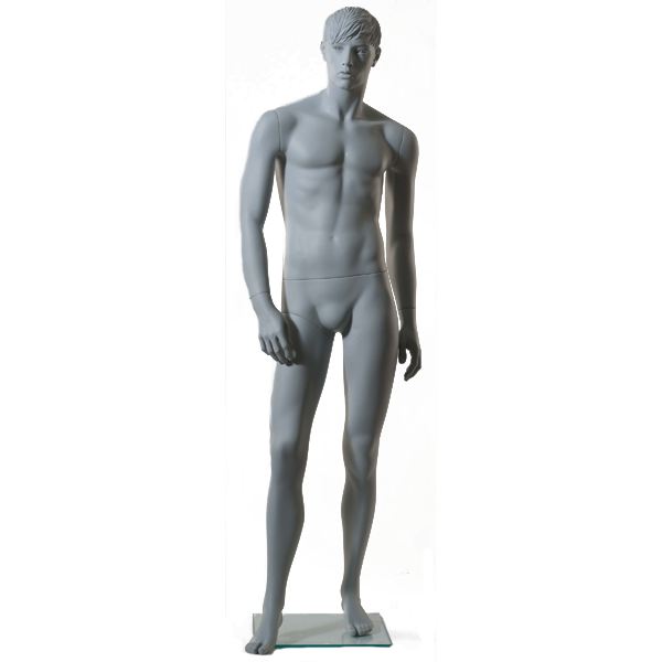 RENT European Male Sculpted Mannequin GA08,Ral9001, GlassSquareBase RENT1ABGRN-4
