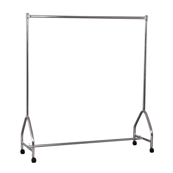 Fashion clothes rack single rail on castors  1560 W x 1680 H x 490 mm D R1070CH