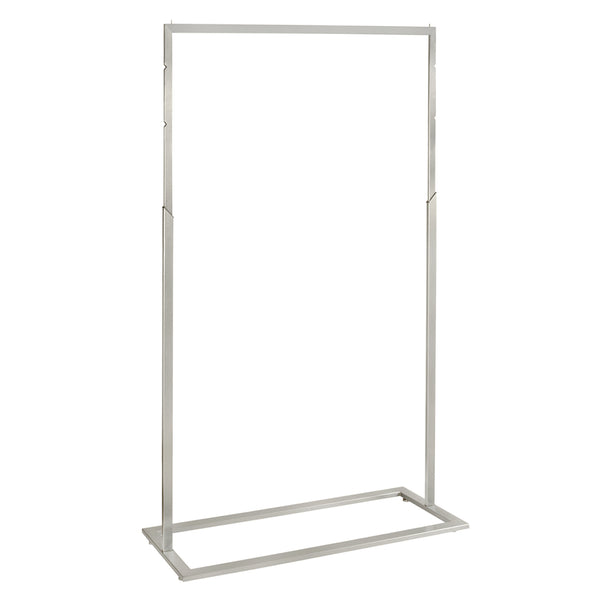 Style Clothes Rack with Adjustable Height - in Brushed Chrome (1200mm W x 1650mm H x 457mm D)