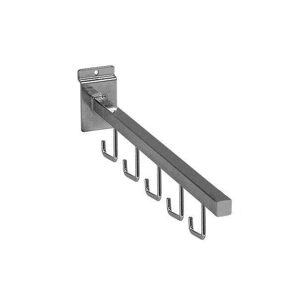 Slot System Heavy Duty Straight Arm With 5 Hooks 400 L X 25Mm Square Tube